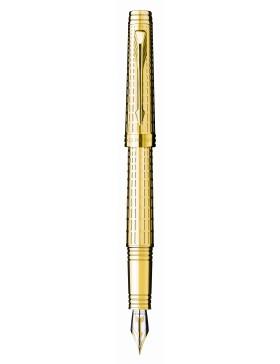 Перьевая ручка Parker Premier DeLuxe F562, цвет: Chiselling GT, перо: F, перо: золото 18К
