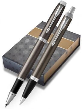 Набор с чехлом: Ручка роллер и Шариковая ручка Parker IM Core Dark Espresso CT