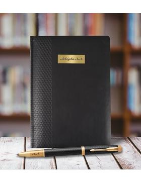 Набор с гравировкой: Ежедневник недатированная и Ручка роллер Parker IM Premium Core Black GT