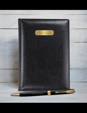 Набор с гравировкой: Ежедневник недатированный и Шариковая ручки Parker Sonnet Black GT